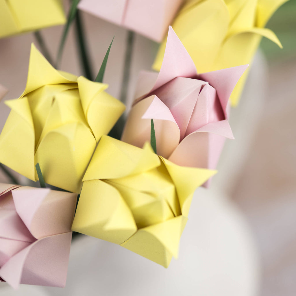 pink and yellow origami tulips