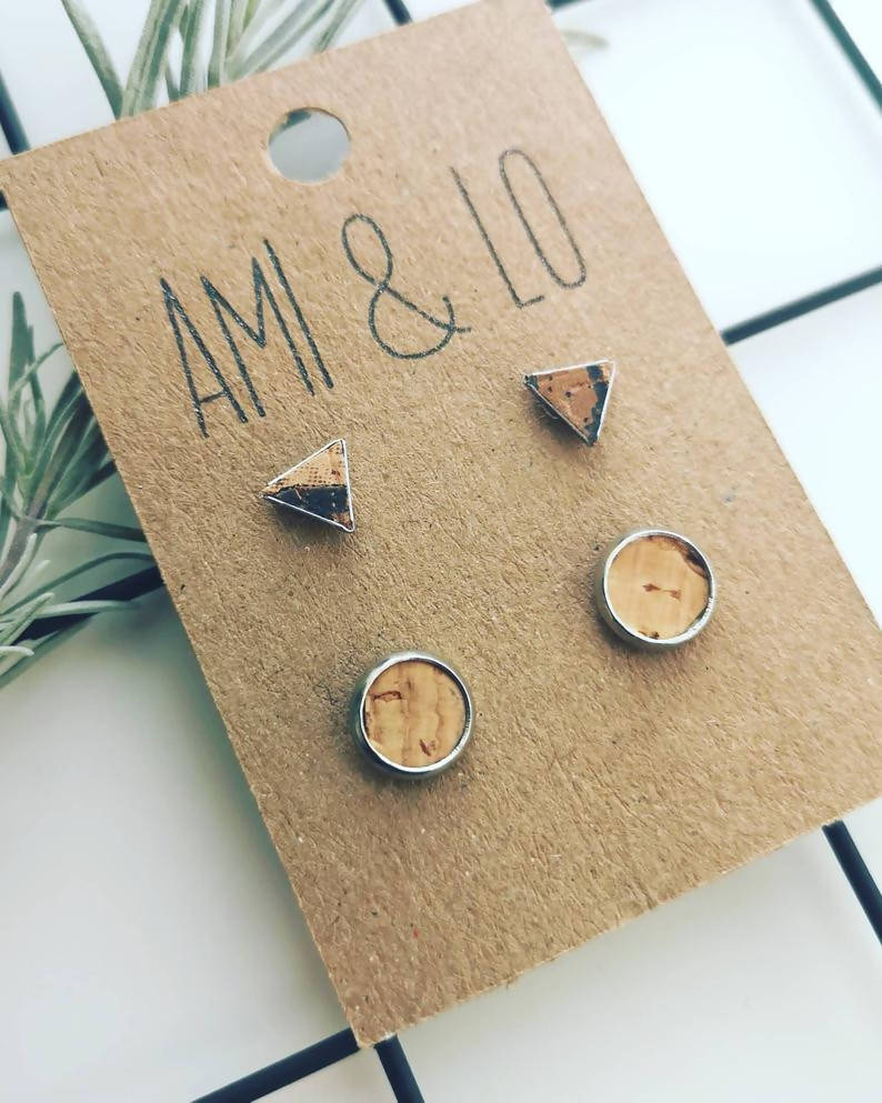 Cork Leather small stud set