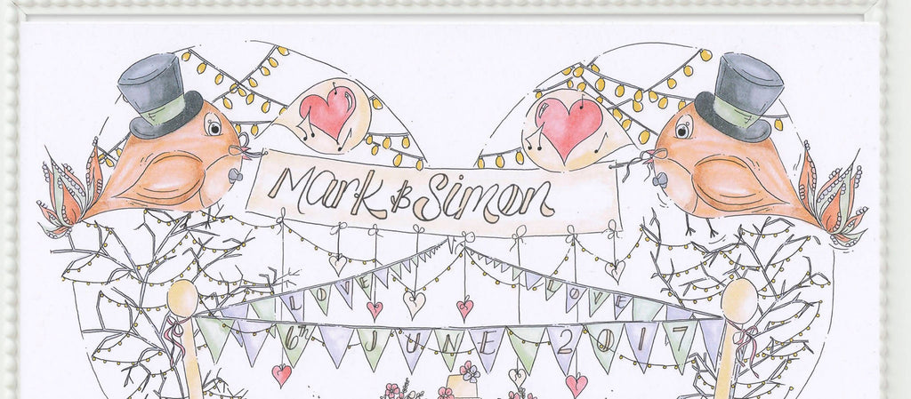 Mr & Mr Birds and Bunting Personalised Wedding Print