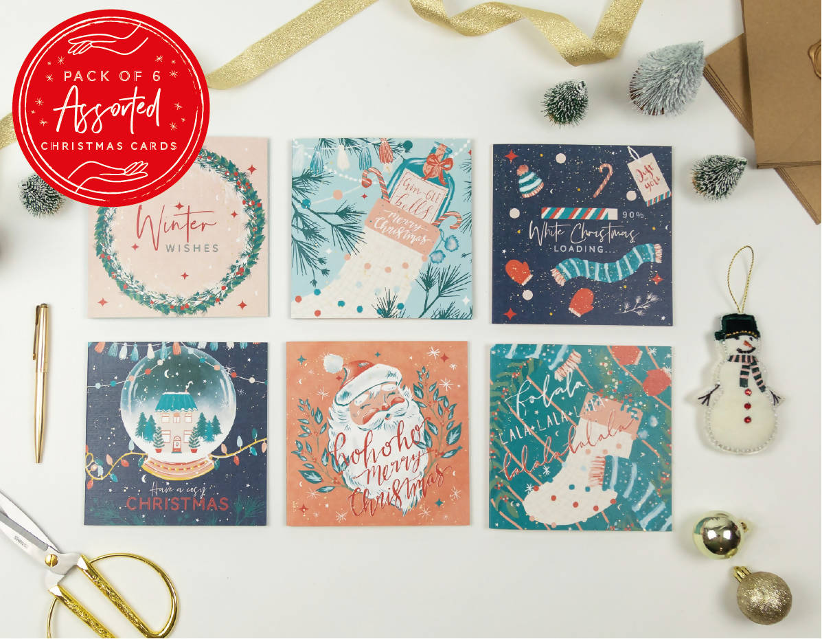 Assorted Pack of 6 Christmas Cards