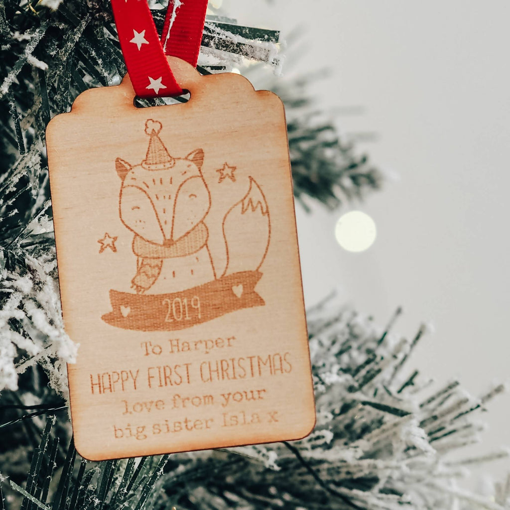 Wooden Christmas Present Gift Tag Keepsake with Fox Design