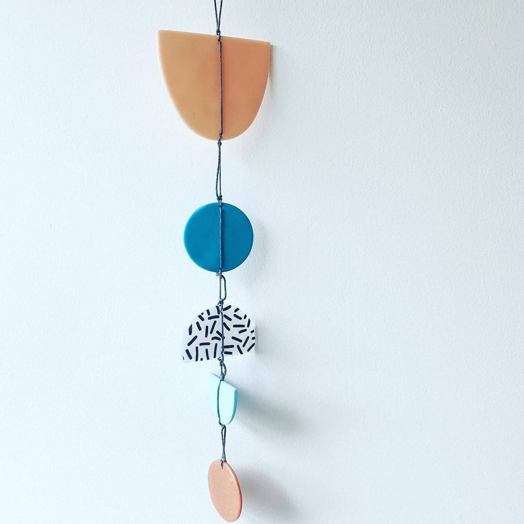 Wall hanging in blue beige & metallic colours