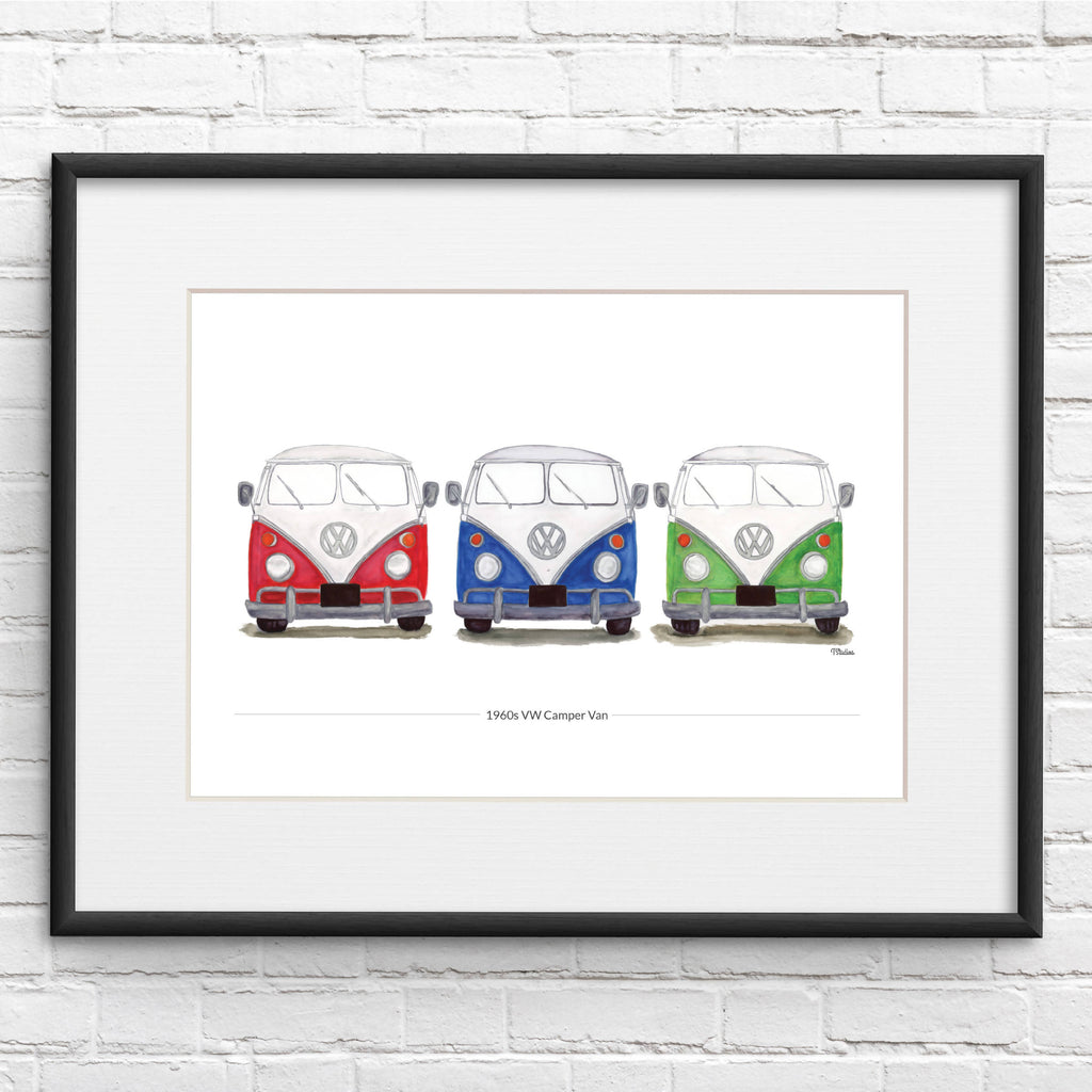 VW Camper Van Three in A Row Illustration Print- Personalised Option
