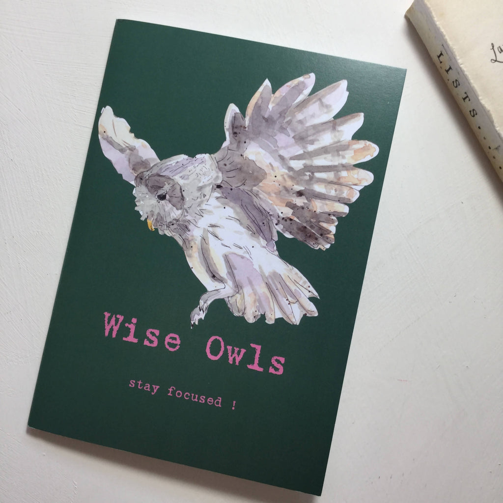 Wise Owls Stay Focused Note Book - A5 Olive NoteBook from an original watercolour