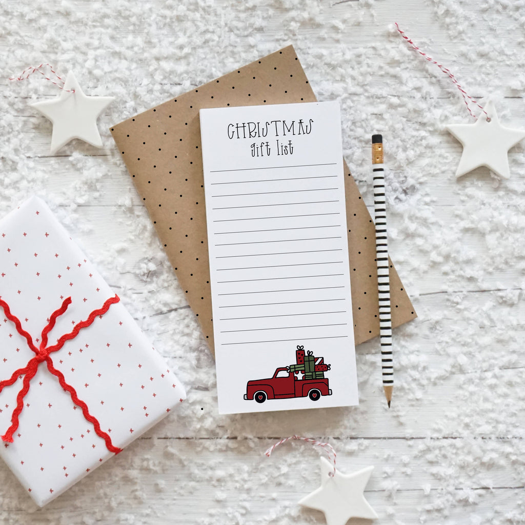 Vintage Red Christmas Truck Gift List, DL notepad