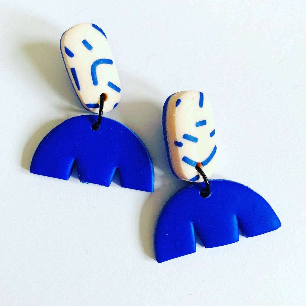 Blue dash pattern polymer clay earrings