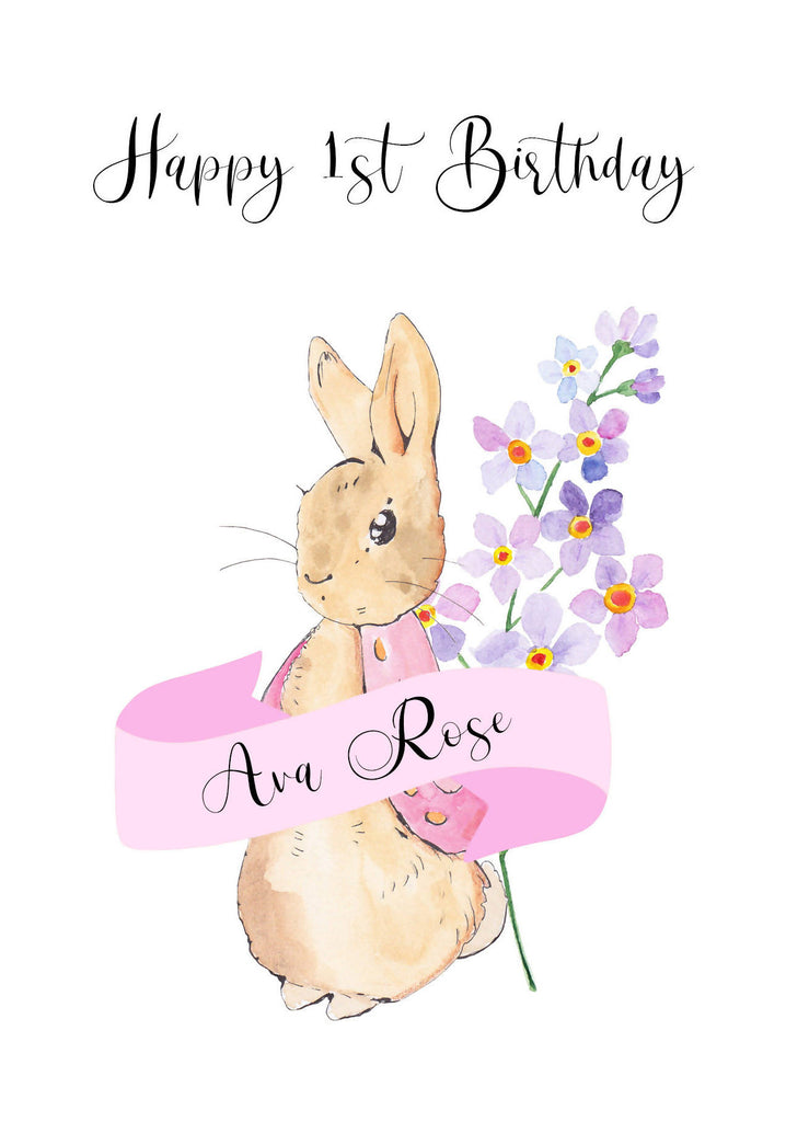 Sweet Bunny Birthday Card (Pink) - Personalised - Eco-Friendly