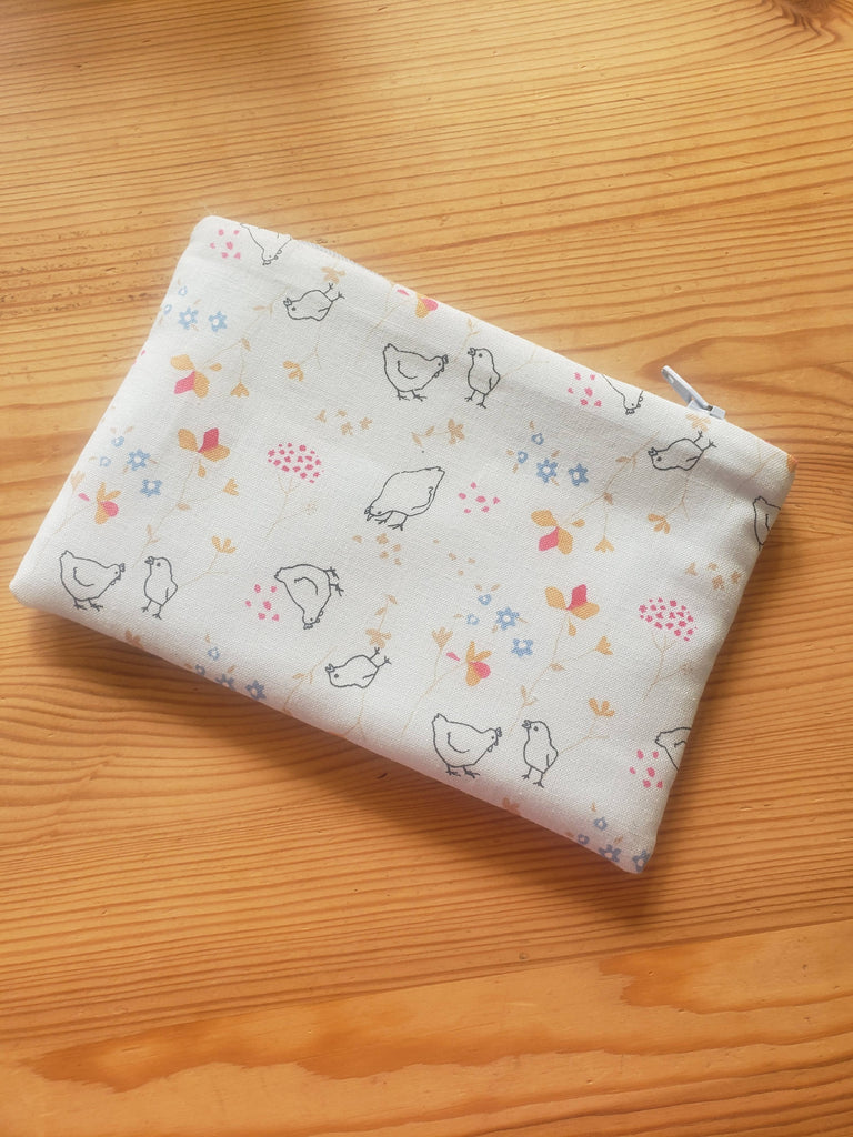 Blue Chickens Zipper Pouch