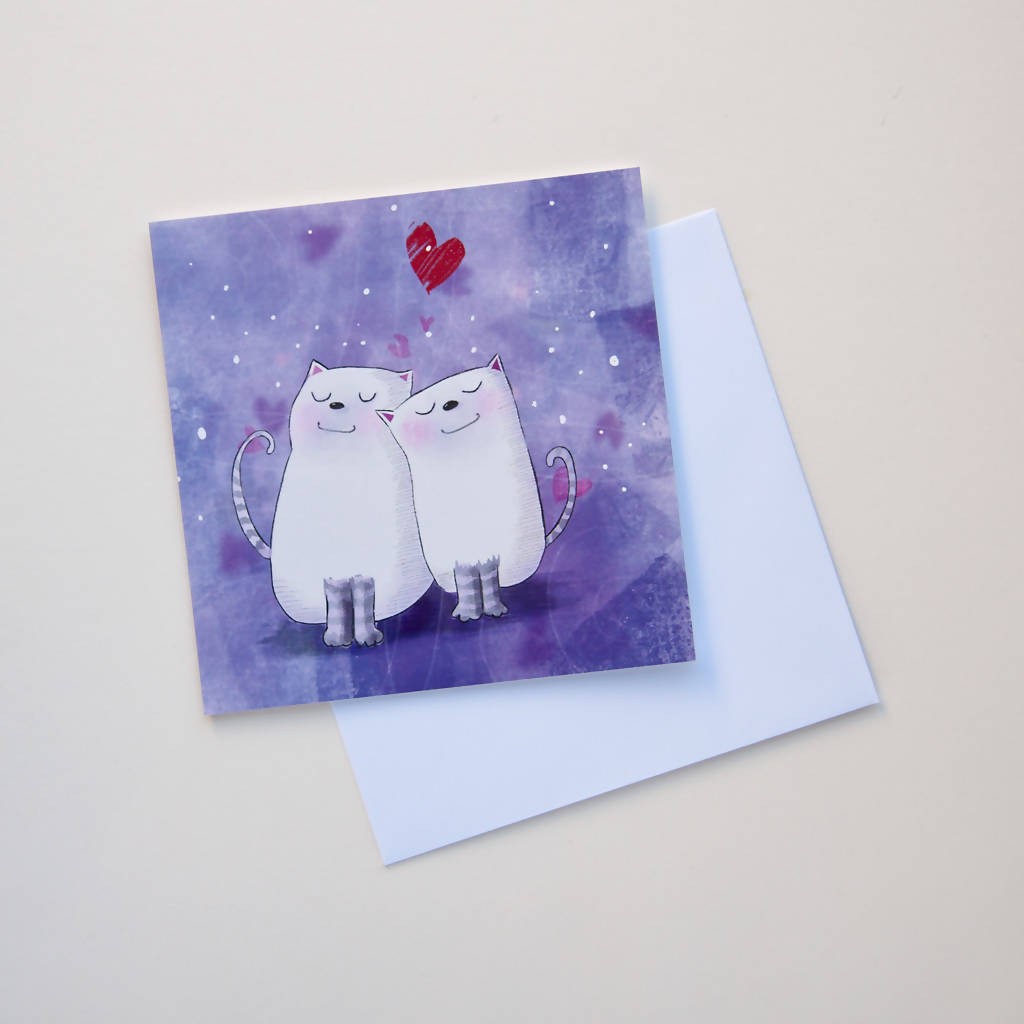 White Cats Greeting Card