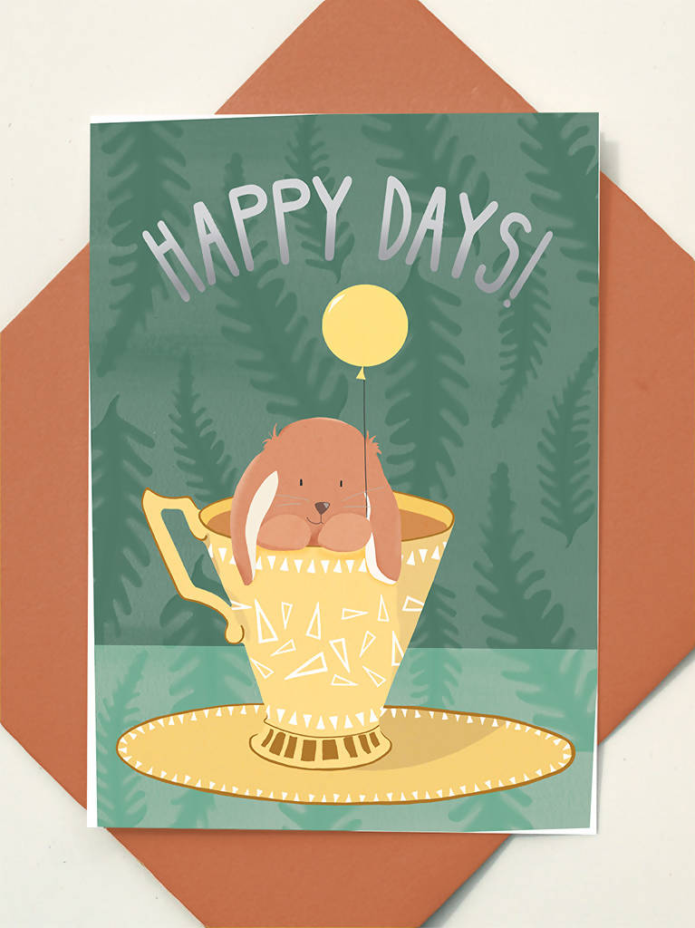 Greeting Card Happy Days Rabbit Teacup