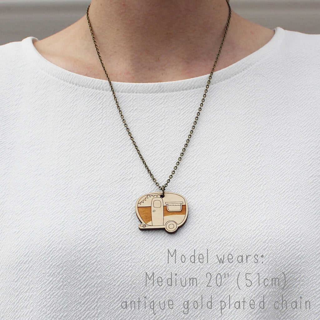 Wooden Caravan Necklace Worn on Model Antique Gold Plated Chain -Ginger Pickle