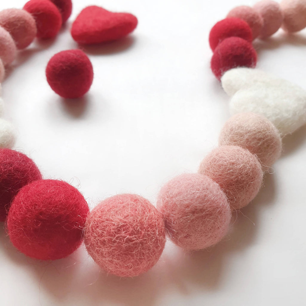 Red Ombre Rainbow Pom Pom Garland - Felt Ball Nursery Decor