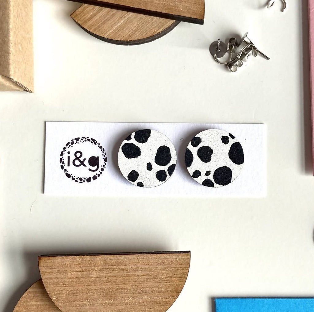 Classic Dalmatian Print Circle Stud Wooden Earrings