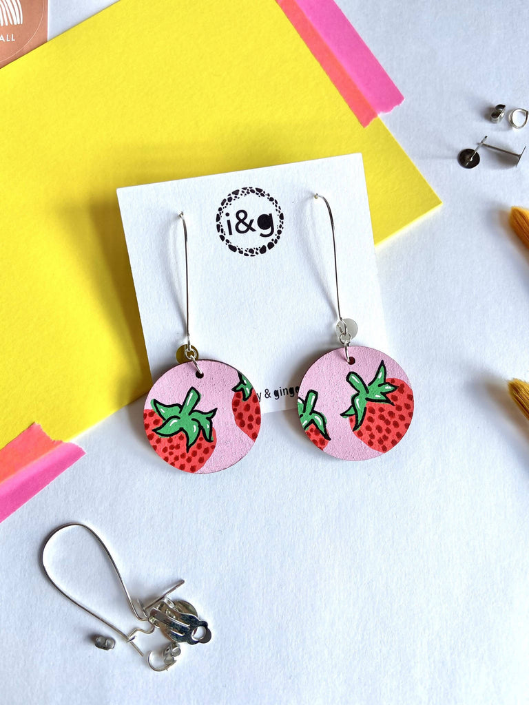 Strawberry Print Circle Drop Dangle Hand Painted Wooden Earrings