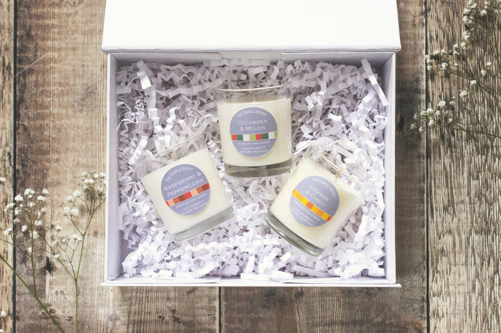 Gift sets: 4 options. Soy wax candle gift sets, candle and diffuser gift set, wax melt & burner gift set