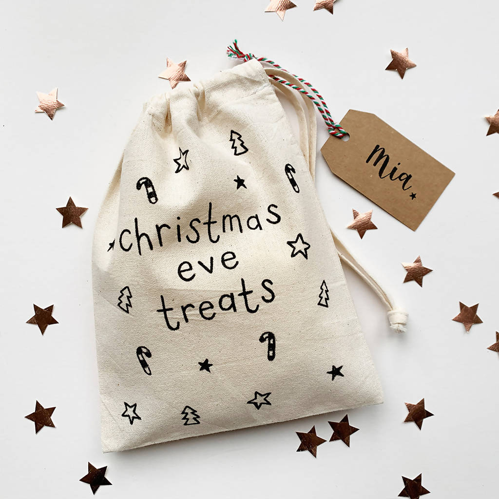 Christmas Eve Treats Bag With Personalised Name Tag