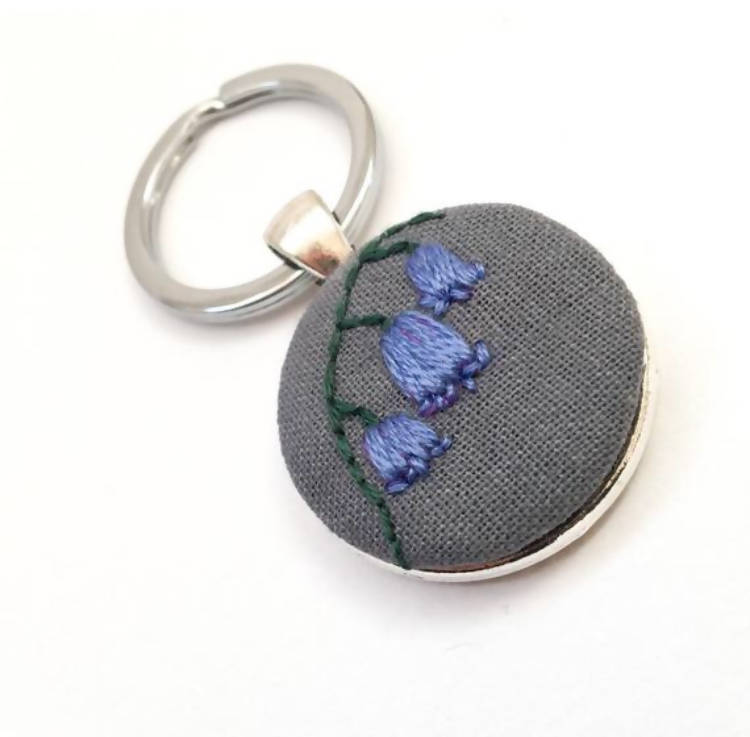 Embroidered Bluebell Keyring