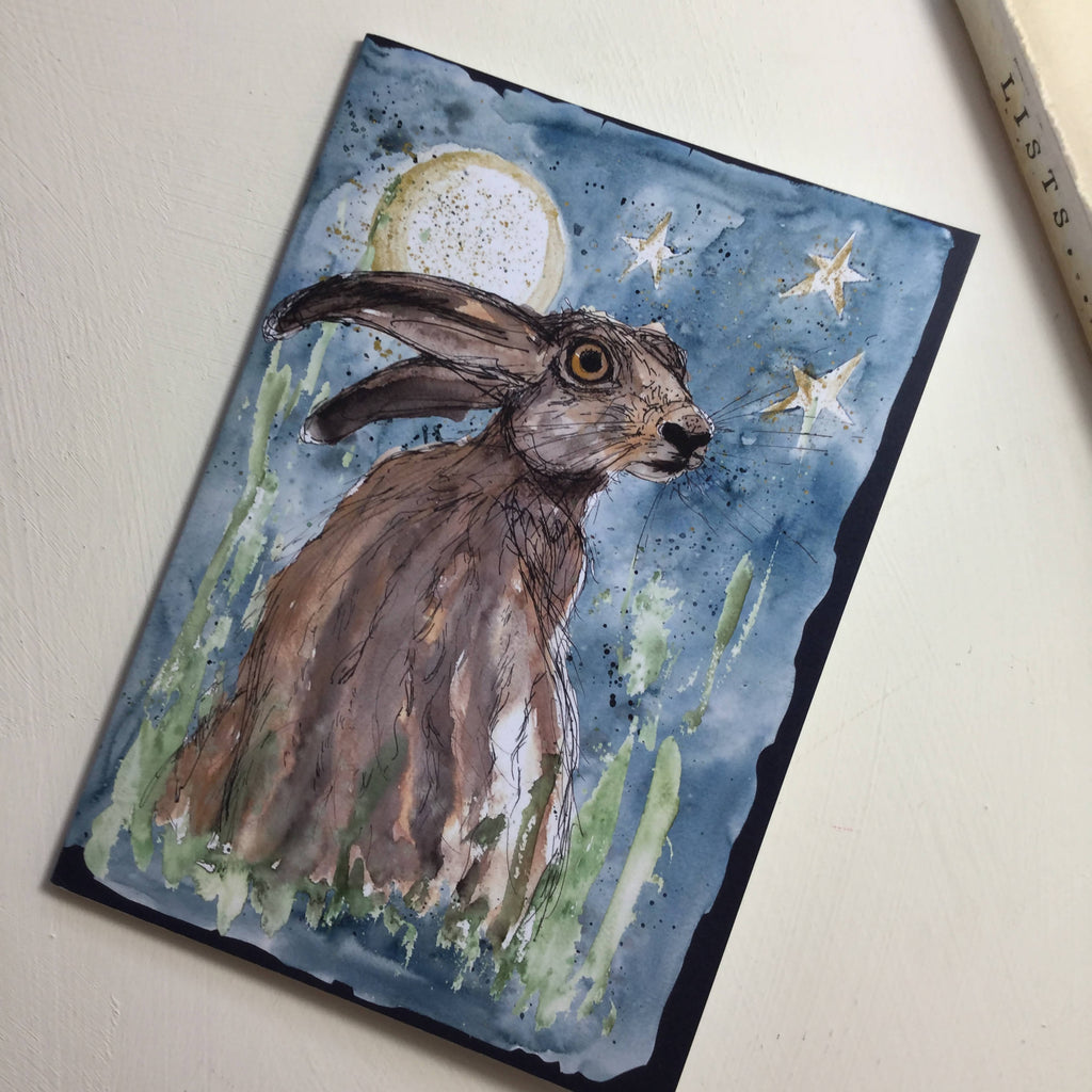 Luna Moon Hare Blue Notebook - A5 design from original watercolour