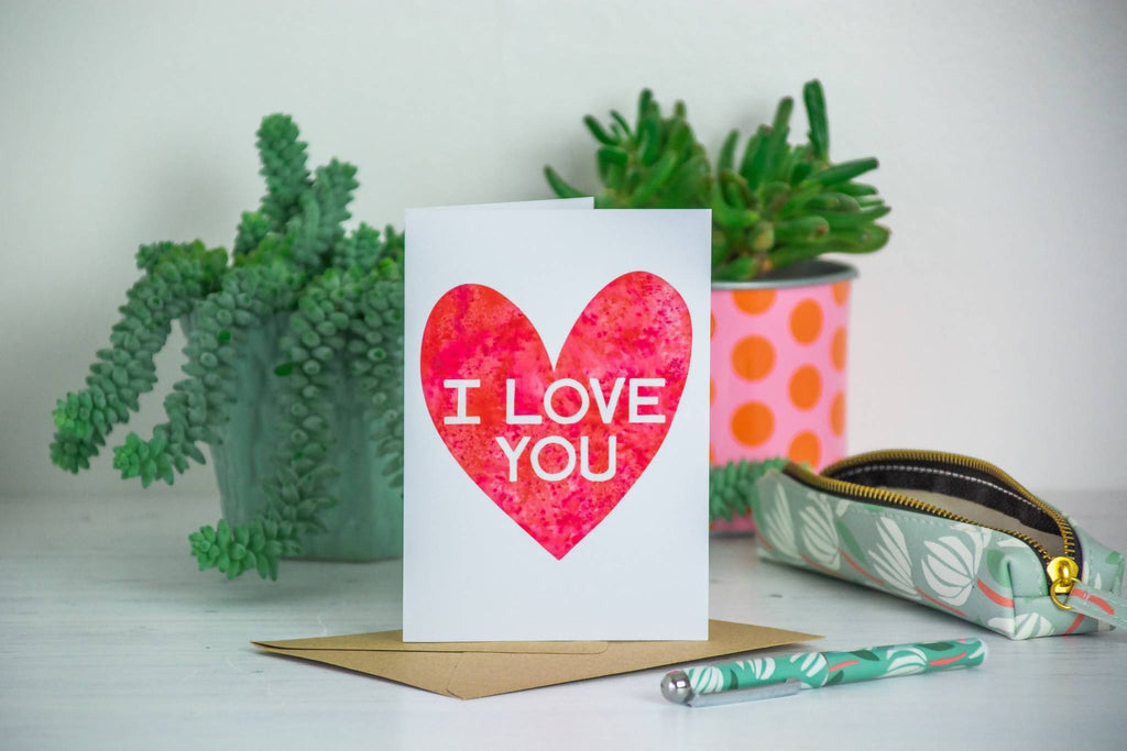 'I love you' Inky Red Heart Card - 1, 5 or 10 pack