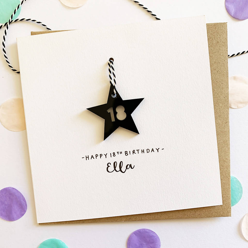 Personalised 18th Birthday Card With Black Acrylic Hanging Star