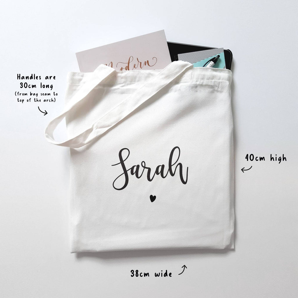 Personalised Calligraphy Name Cotton Tote Bag