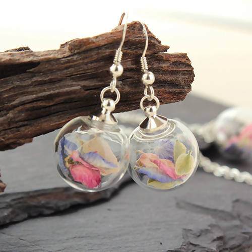 "Real Flower Earrings in mixed petals ""Garden Delight"" with Sterling Silver Short Drops"
