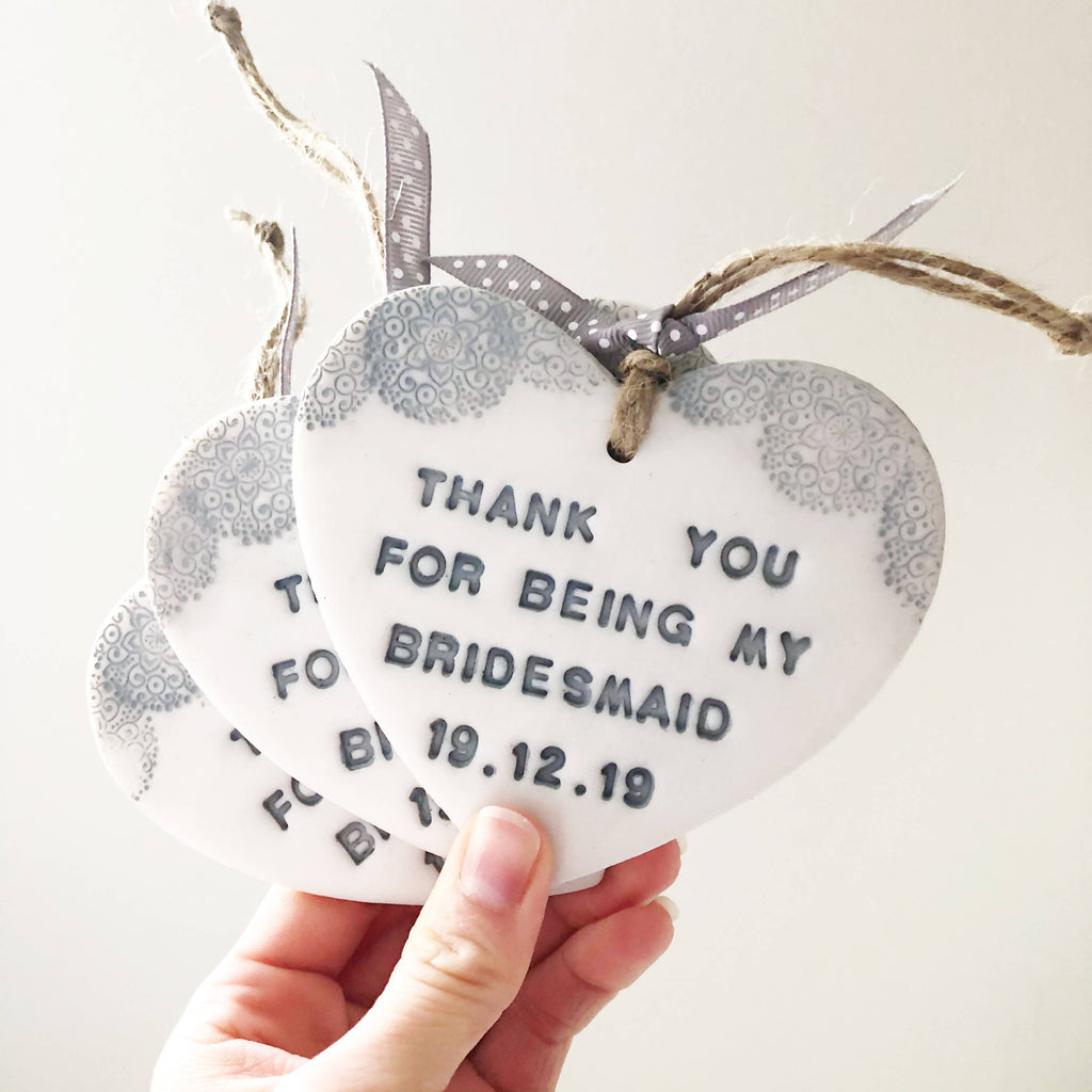 Personalised Bridesmaid Heart Gift