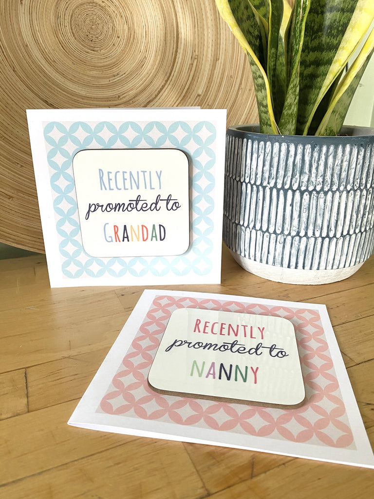 """Recently Promoted"" Personalised Coaster Card"