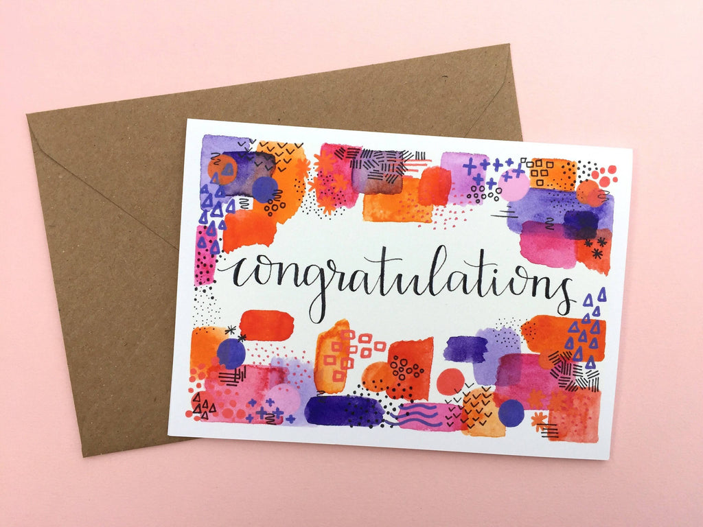 'Congratulations' Abstract Hand Lettered Card - 1, 5 or 10 pack