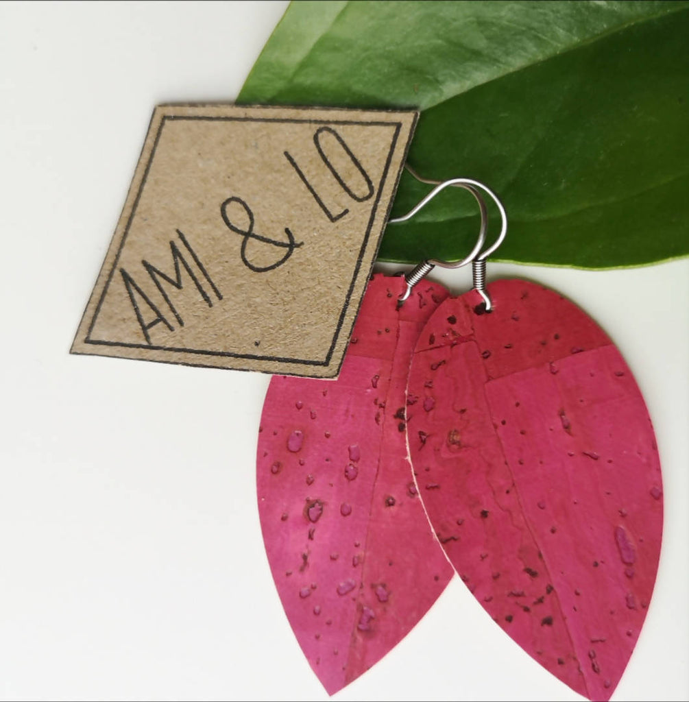 Cork leather teardrop earrings
