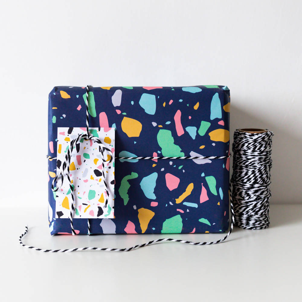 Navy Terrazzo Gift Wrapping Sheet A2, With Matching Tags