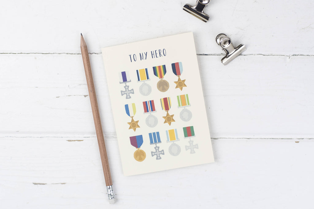 My Hero- Medals- Father's Day greetings card