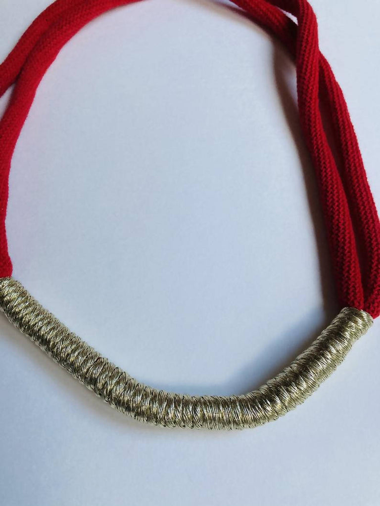 Red and Gold Statement Necklace