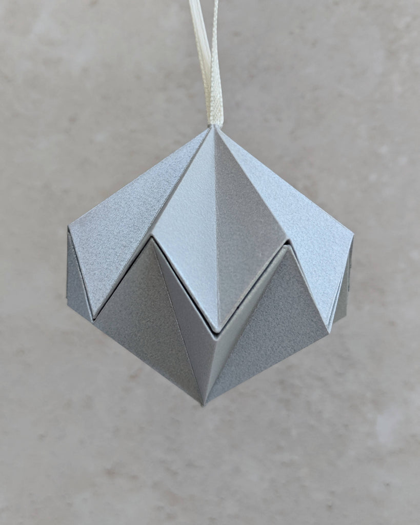 silver metallic paper tree ornament