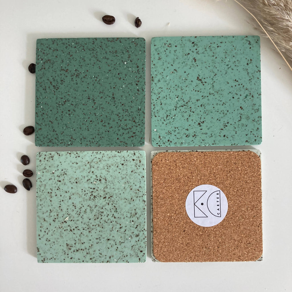 Eco Coffee Coasters (greens)