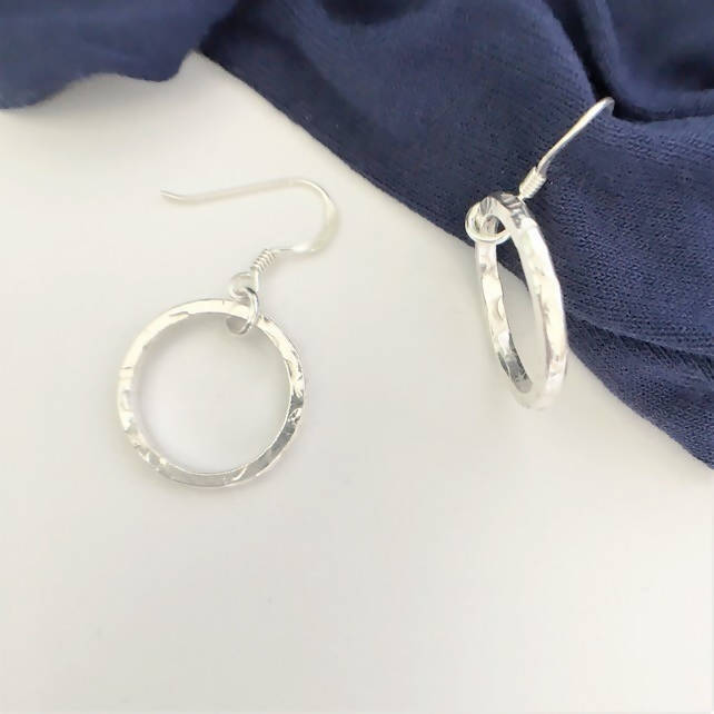 Small Textured Hoops - Eco Sterling Silver
