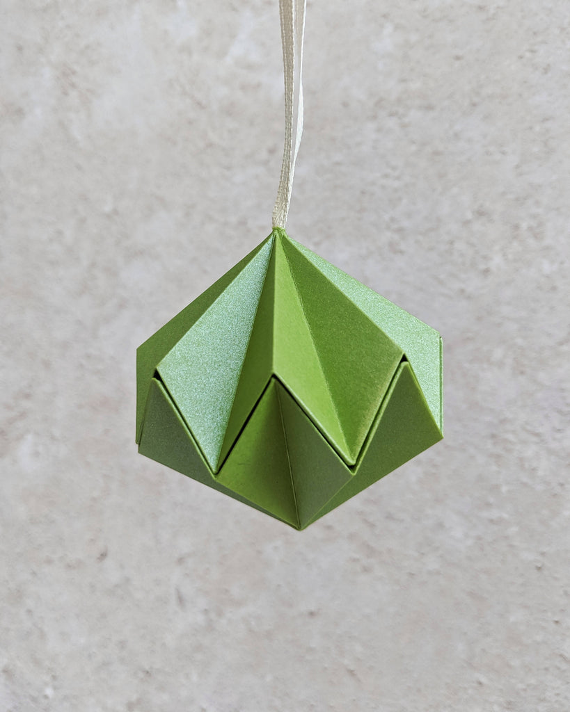 green origami Christmas tree decoration