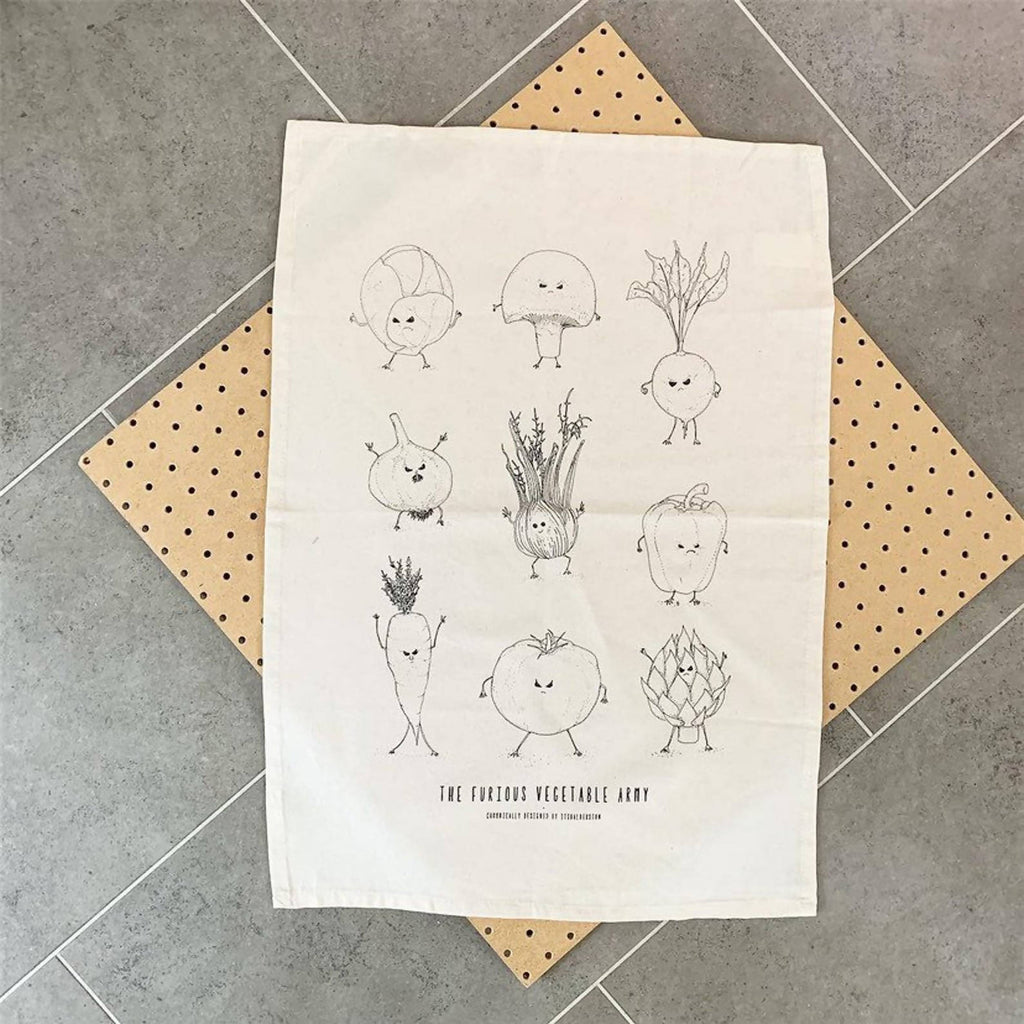 Furious Vegetable Army Tea Towel