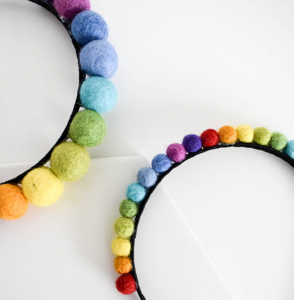 Rainbow Felt Ball Headband