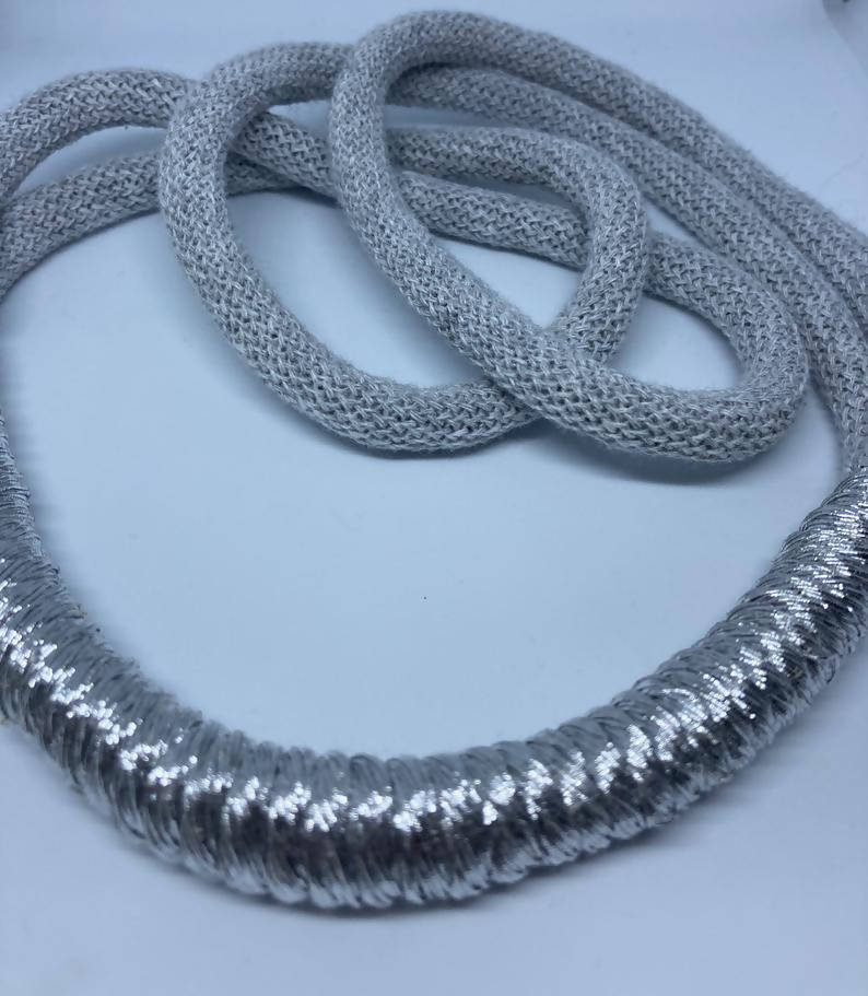 Light grey and silver statement necklace