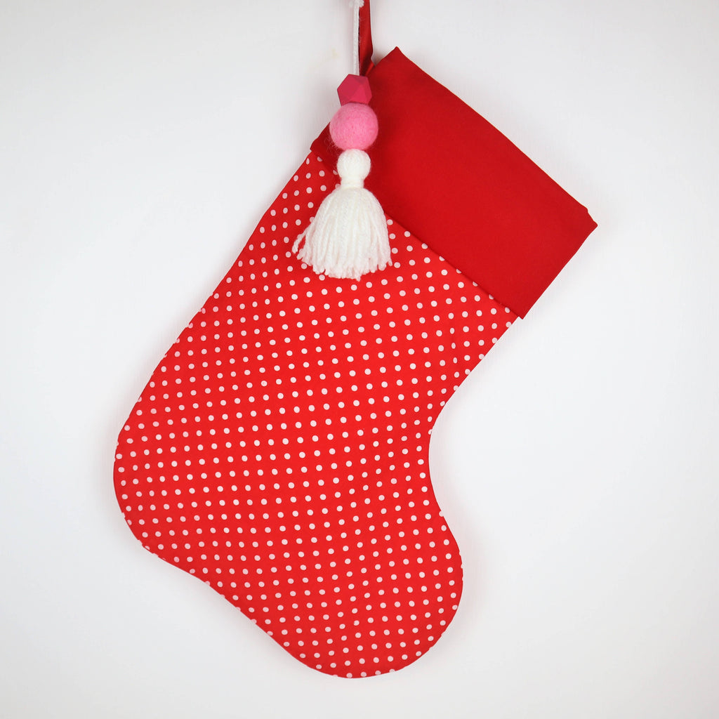 Personalised Red and White Spot Christmas Stocking
