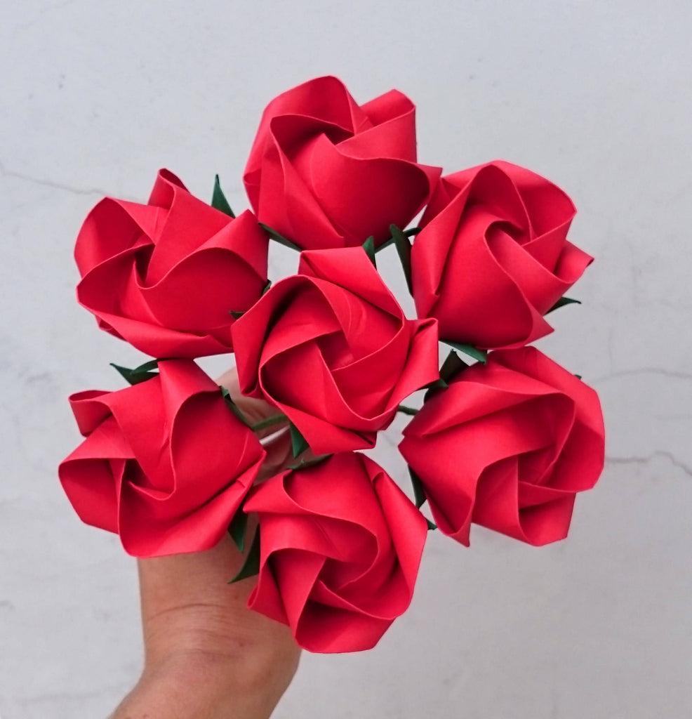 Red origami paper roses bouquet