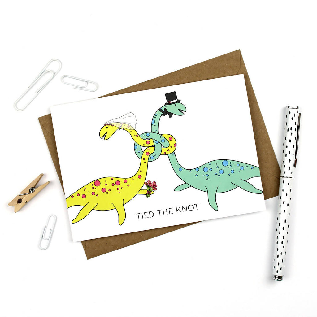 Tied the Knot Dinosaur wedding card