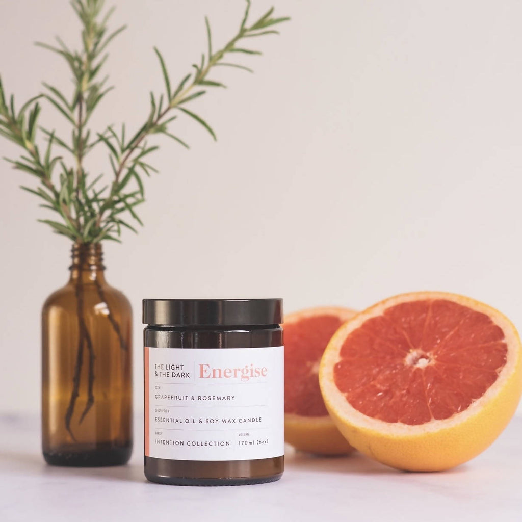 Energise Grapefruit & Rosemary Essential Oil Soy Wax Candle