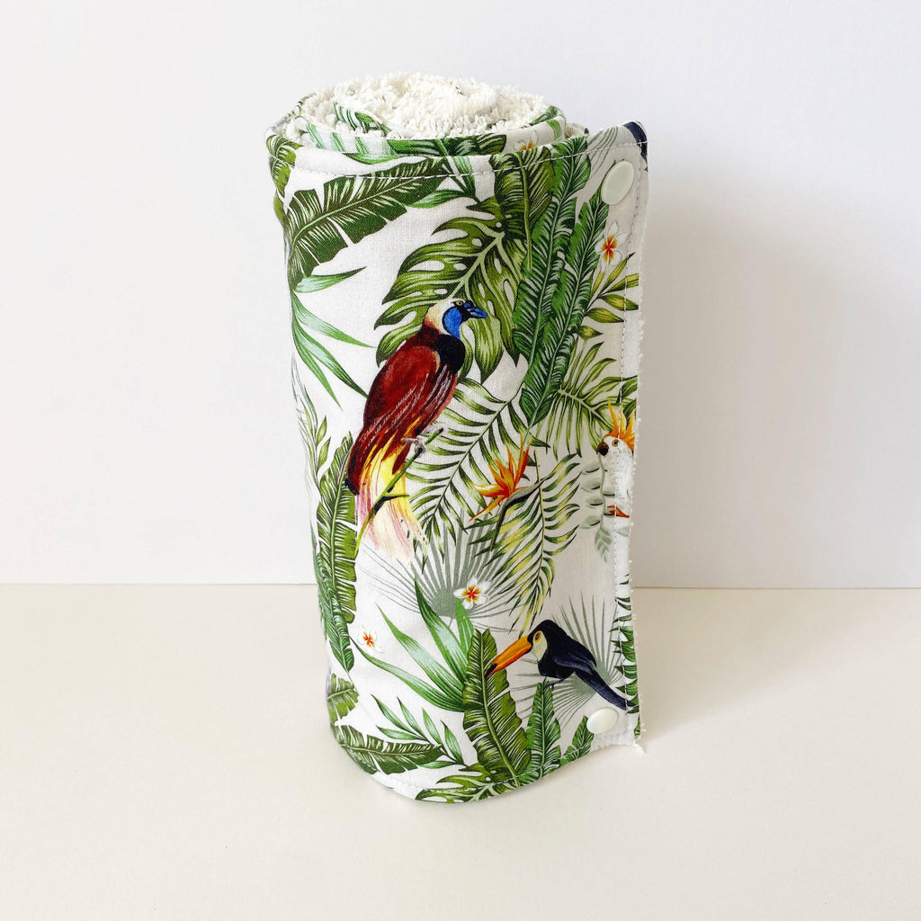 Eco Friendly Reusable Kitchen Roll with tropical birds and jungle foliage