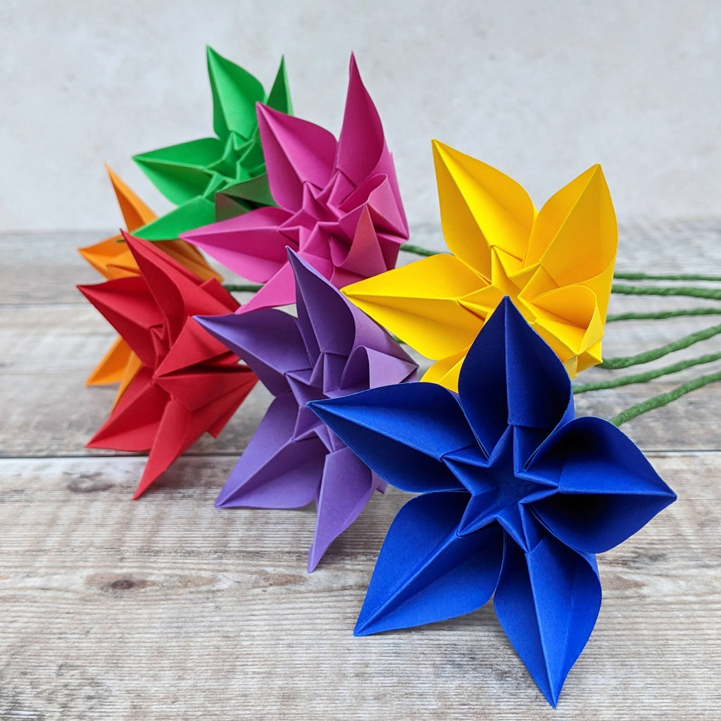 Rainbow paper star flower bouquet, bunch of origami flowers