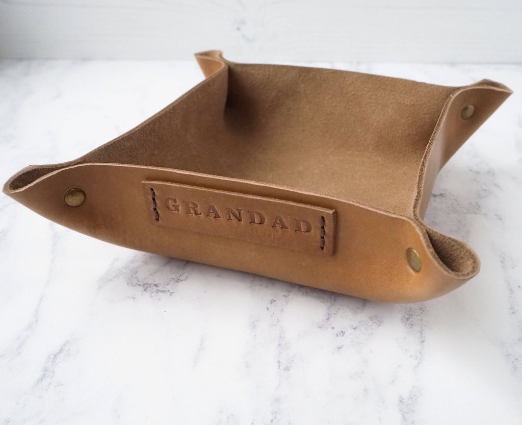 Personalised Leather Coin Tray - Gift for Him