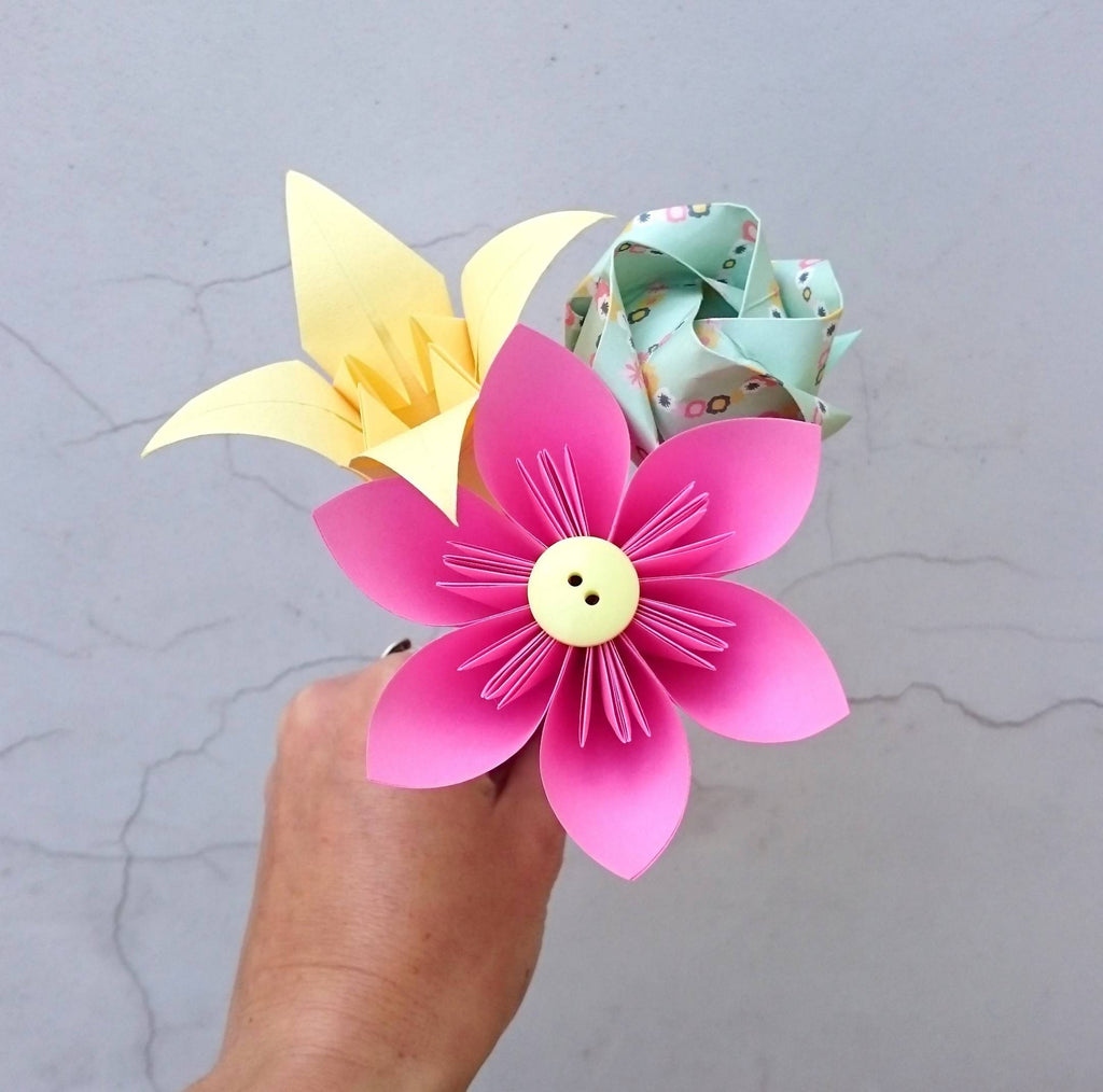 Pink origami paper flower bouquet, thank you gift