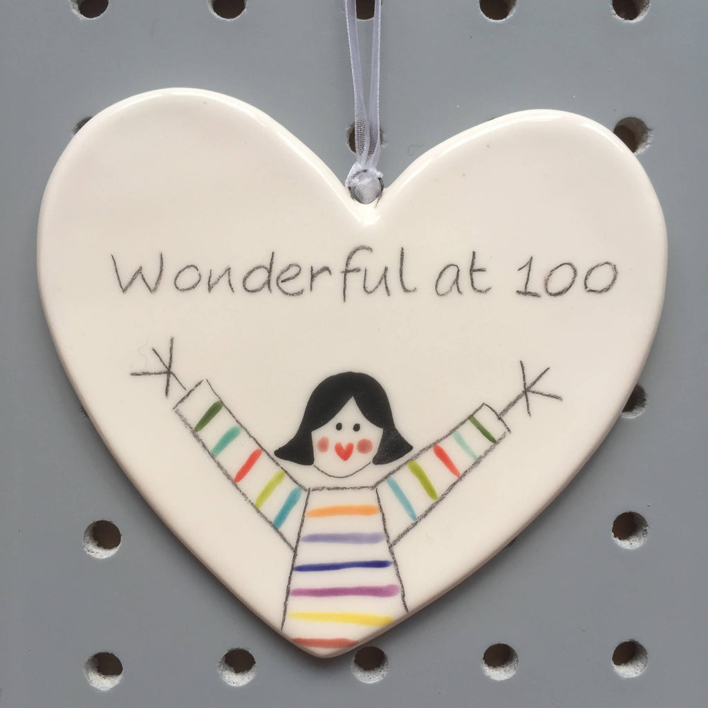 100 - Wonderful at 100 - Hand painted Ceramic Heart