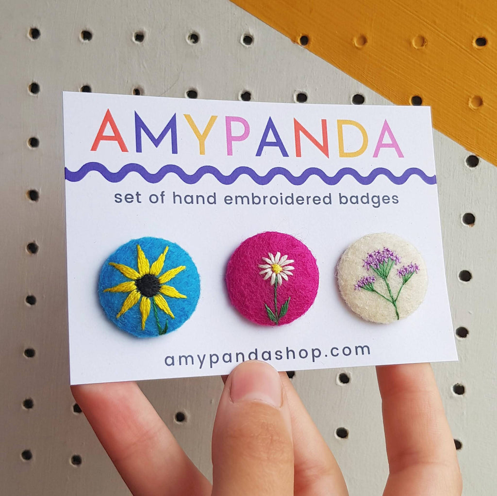 Bright set of embroidered flower badges